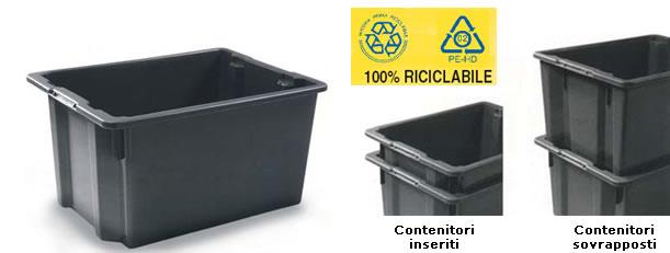 Contenitori in plastica sovrapponibili cassoni in for Contenitori per esterni in plastica